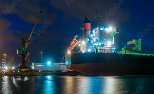 bulk cargo ships in the harbor at night