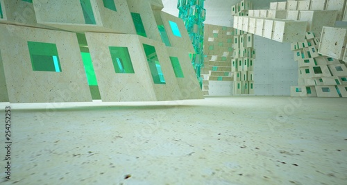 Abstract  concrete and coquina parametric interior  with window. 3D illustration and rendering.