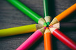 Leinwanddruck Bild - Close up macro shot of color pencil pile pencil nibs on dark background | Focus one point