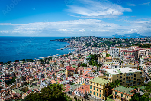 Cityscape and Bay of Naples from Castel Sant'Elmo, a medieval fortress, Naples, Italy - 254261672