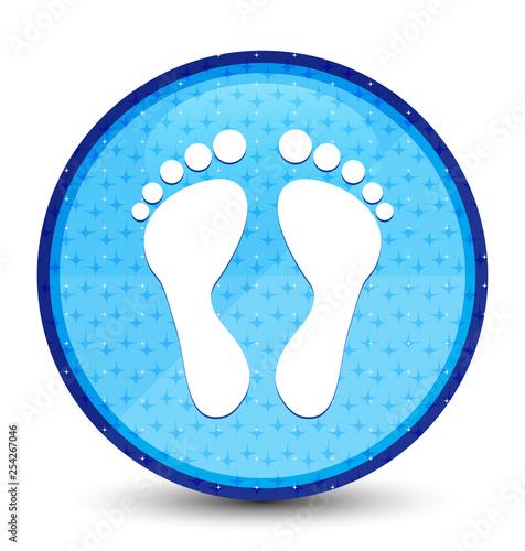 Footprint icon galaxy cyan blue round button