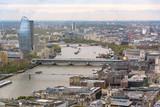 Fototapeta Londyn - Aerial view of Thames river in London © mkos83