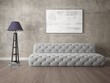 Mock up exclusive living room with comfortable fashionable sofa and stylish hipster backdrop.
