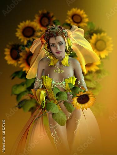 Sunflower Maid, 3d CG - 254277680