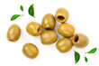 Leinwandbild Motiv Green olives isolated on a white background. Top view. Flat lay