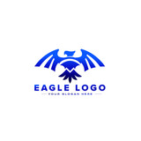eagle with open wings badge on white background