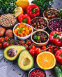 Leinwandbild Motiv Assorted organic food products on the table