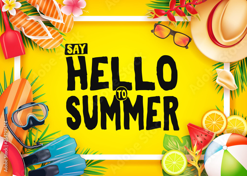 Hello Summer Top View Realistic Vector Banner in Yellow Background with Frame and Tropical Elements Like Scuba Diving Equipment, Surf Board, Slippers, Digital Camera, Mobile Phone, Hat, Palm Leaves