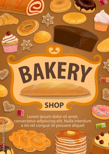 Pastry or bread, confectionery food, bakery shop