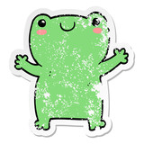 distressed sticker of a cute cartoon frog