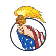 Drawing sketch style illustration of a hand holding a Statue of Liberty torch with American USA stars and stripes flag draped on arm set inside oval on isolated white background in full color.