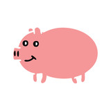 flat color retro cartoon pig