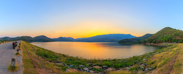 panorama Landscape of sunset on Mountain In the reservoir  Sukhothai,Thailand