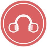 music headphones circular icon