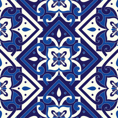 Parquet portuguese tile pattern vector seamless with floral motif. Portugal azulejo, mexican talavera, delft dutch, spanish mosaic or italian sicily majolica. Ceramic texture for kitchen or bathroom.