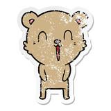 distressed sticker of a happy cartoon bear