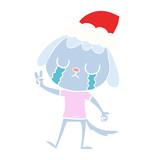 cute flat color illustration of a dog crying wearing santa hat