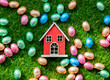 color Chocolate Easter eggs and toy house