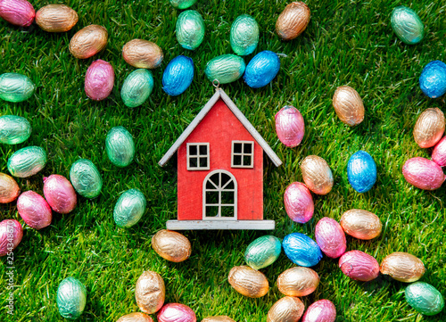 color Chocolate Easter eggs and toy house - 254348670