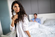 Leinwandbild Motiv People, relationship difficulties, conflict concept - unhappy couple having problems at bedroom
