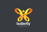 Butterfly Logo Ribbon Loop design vector template. Beauty Fashion Luxury logotype concept icon.