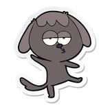 sticker of a cartoon bored dog