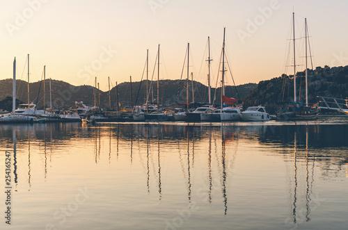 Boats in harbor at sunset,, Antalya, Turkey