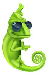 A chameleon cool green lizard cartoon character in sunglasses illustration