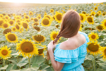 Young woman in sunflower field has fun