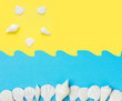 Leinwanddruck Bild - Creative paper cut out collage on duotone yellow blue background with sea shells sun ocean waves. Summer beach vacation travel fun concept. Poster banner streamer with copy space