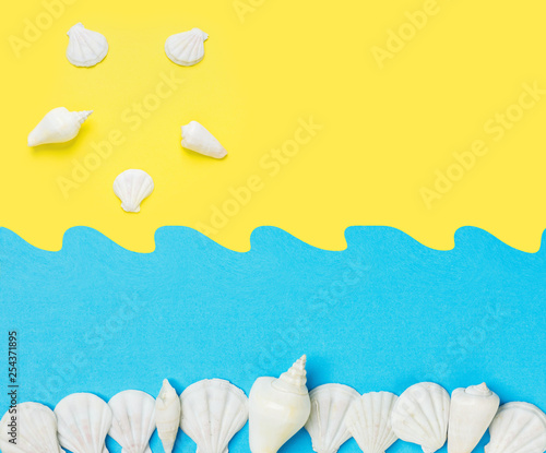 Leinwanddruck Bild Creative paper cut out collage on duotone yellow blue background with sea shells sun ocean waves. Summer beach vacation travel fun concept. Poster banner streamer with copy space