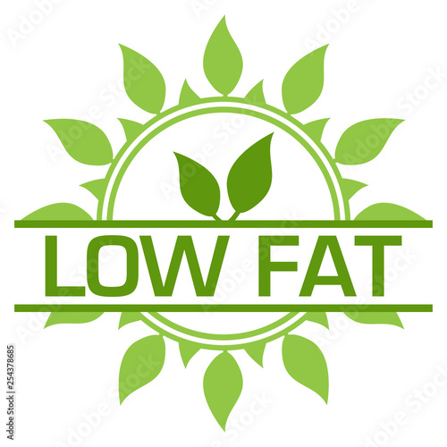 Leinwanddruck Bild Low Fat Green Badge Circular Leaves