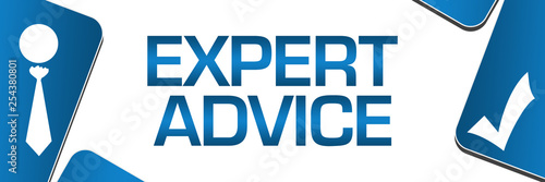 Expert Advice Blue Rounded Squares Left Right Symbols