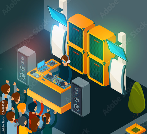 Dj on scene. Entertainment party music happy crowd singing dancing electro music from speakers. Dj music party, disco scene, nightclub festival illustration