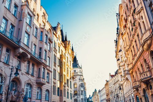 Leinwanddruck Bild historical center of Prague with beautiful historical tenements