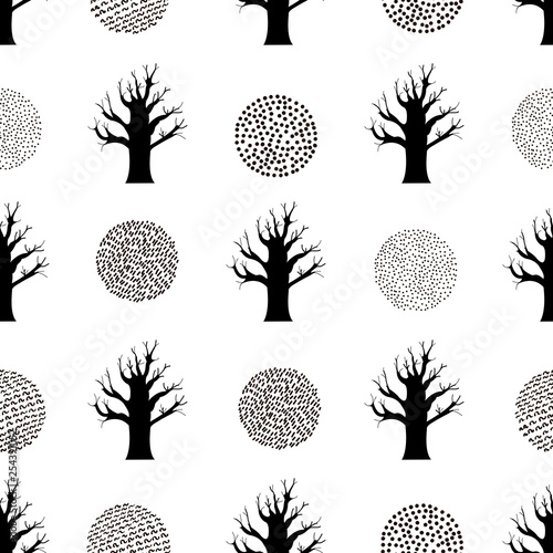 mata magnetyczna Seamless pattern with black trees.
