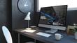 digital business navy desktop mockup