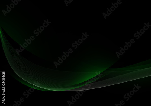 Abstract background waves. Black and green abstract background. - Illustration - 254394628