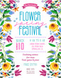Flower spring festival announcing poster template. Garden party layout with fancy flowers in folk painting style.