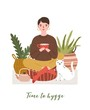 Cute young woman drinking tea, cat, houseplants and Time To Hygge slogan handwritten with cursive font. Comfortable house or apartment decorated in cozy Scandic style. Flat vector illustration.
