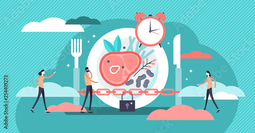 Fasting vector illustration. Flat tiny metabolism diet time person concept. - 254409273