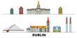 Irland, Dublin flat landmarks vector illustration. Irland, Dublin line city with famous travel sights, design skyline.  - 254413293
