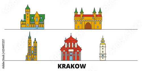 Poland, Krakow flat landmarks vector illustration. Poland, Krakow line city with famous travel sights, design skyline.