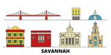 United States, Savannah flat landmarks vector illustration. United States, Savannah line city with famous travel sights, design skyline.
