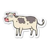 sticker of a cartoon cow