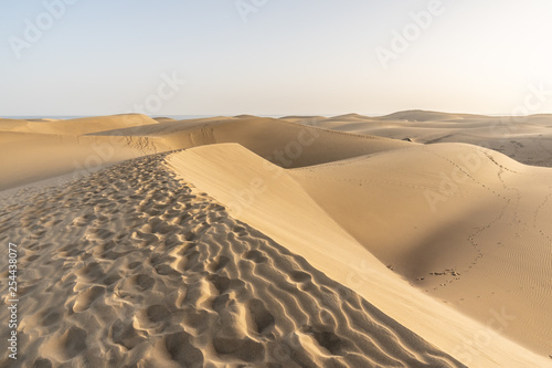 Sand dunes of Maspalomas with patterns from the wind