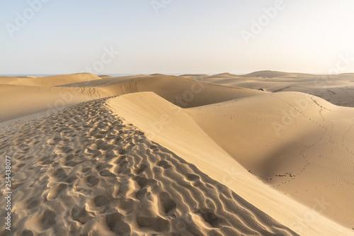 Leinwanddruck Bild Sand dunes of Maspalomas with patterns from the wind