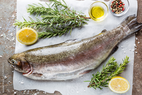 Leinwandbild Motiv Raw trout fish on paper with rosemary and lemon on a stone table, top view