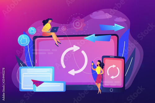 Cross-device syncing concept vector illustration.