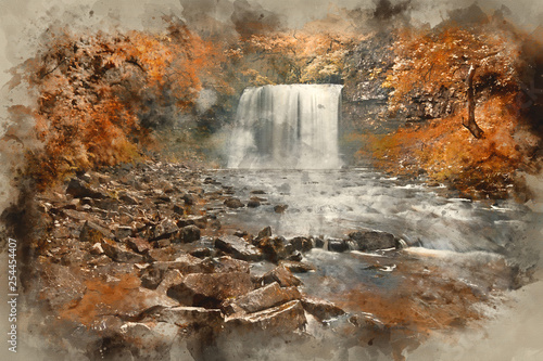 Watercolor painting of Beautiful woodland stream and waterfall in Summer - 254454407